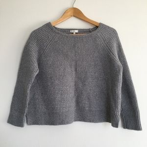 Joie Gray Cropped Chunky Knit Ribbed Wool Sweater